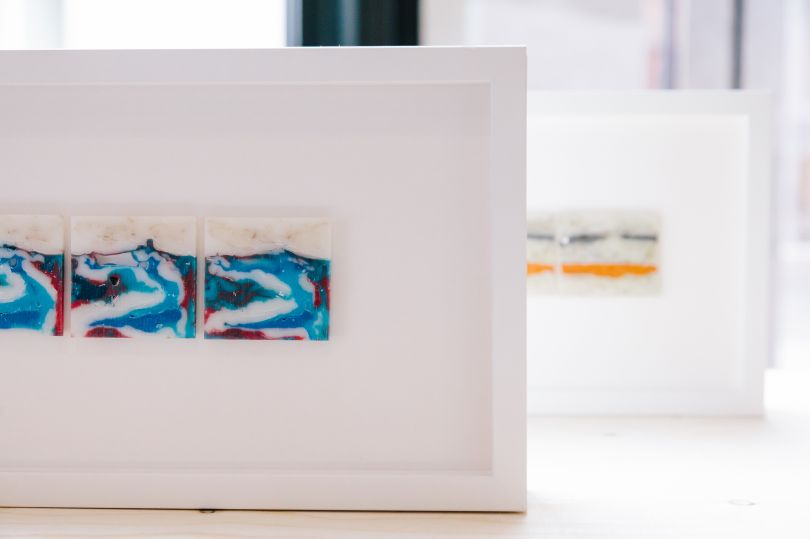 Slice II-V' - Sliced high-density polyethylene and low-density polyethylene cube casts, 70 x 20cm