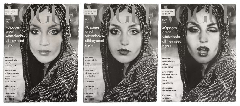 Cover Girl (Vogue) by Cindy Sherman, 1976 / 2011. Courtesy of the artist and Metro Pictures, New York Please note this is one work. All three covers must be shown together, as above