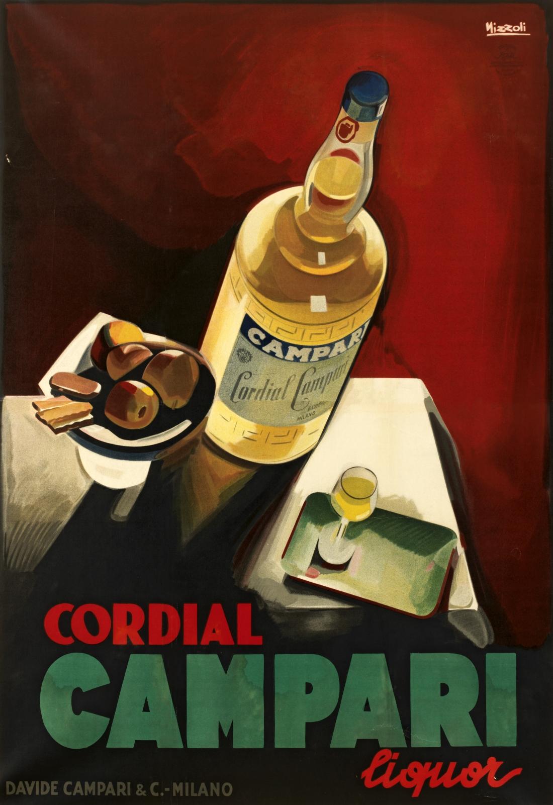 Marcello Nizzoli, Cordial Campari liquor 1926. Lithographic colour print on paper