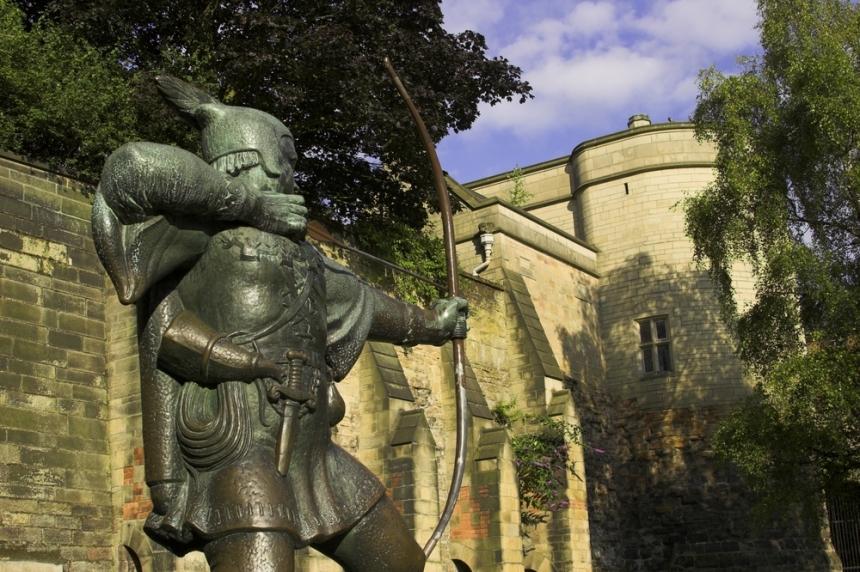 Robin Hood, Robin Hood at Nottingham Castle. Image Credit: [Shutterstock.com](http://www.shutterstock.com)