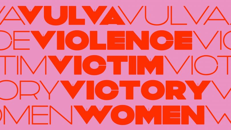 Vulva Variable, an experimental typeface using variable font technology and negative space to reveal the often invisible aspects of feminist discourse