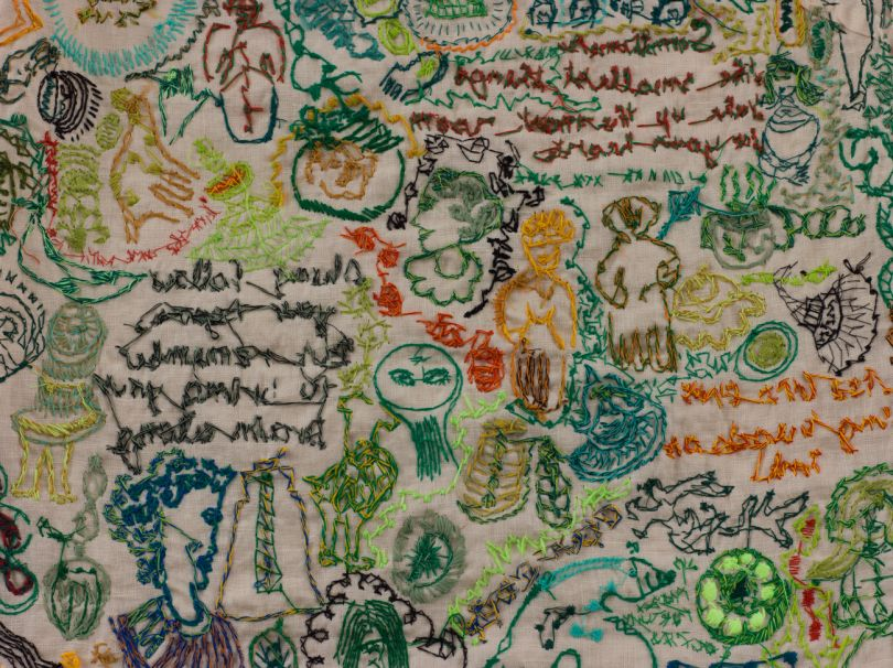 Batia Shani, Untitled , Detail 1, 2019. Embroidery on dress. Courtesy of Tamar Dresdner Art Projects