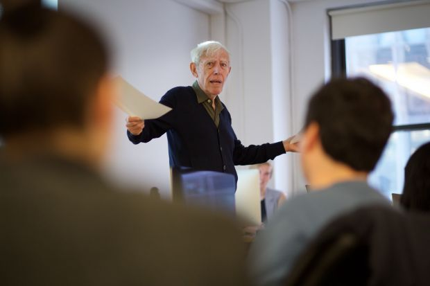 Image courtesy of Shillington: Bob Gill, guest speaking at Shillington in New York, January 2016