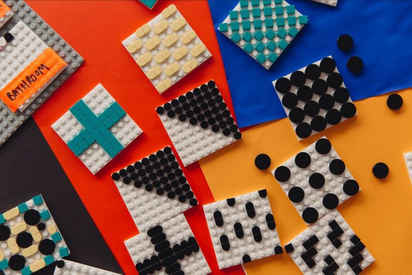 Shot of the newly launched, tile-based LEGO DOTS range in Camille Walala's studio. Photo credit Dunja Opalko.