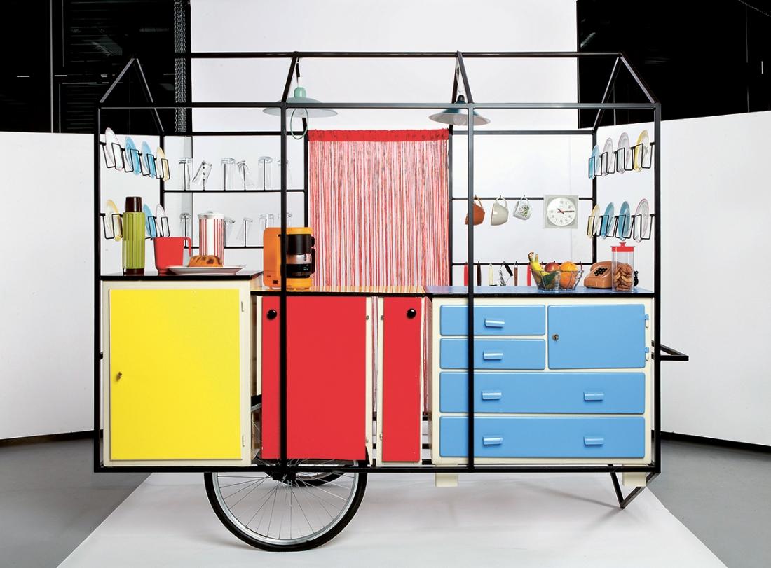 Mobile Kitchen, Geneva University of Art and Design, Switzerland, 2013. Steel framing, plywood, plasterboard, wheels, kitchenware. Picture credit: Emmanuelle Bayart