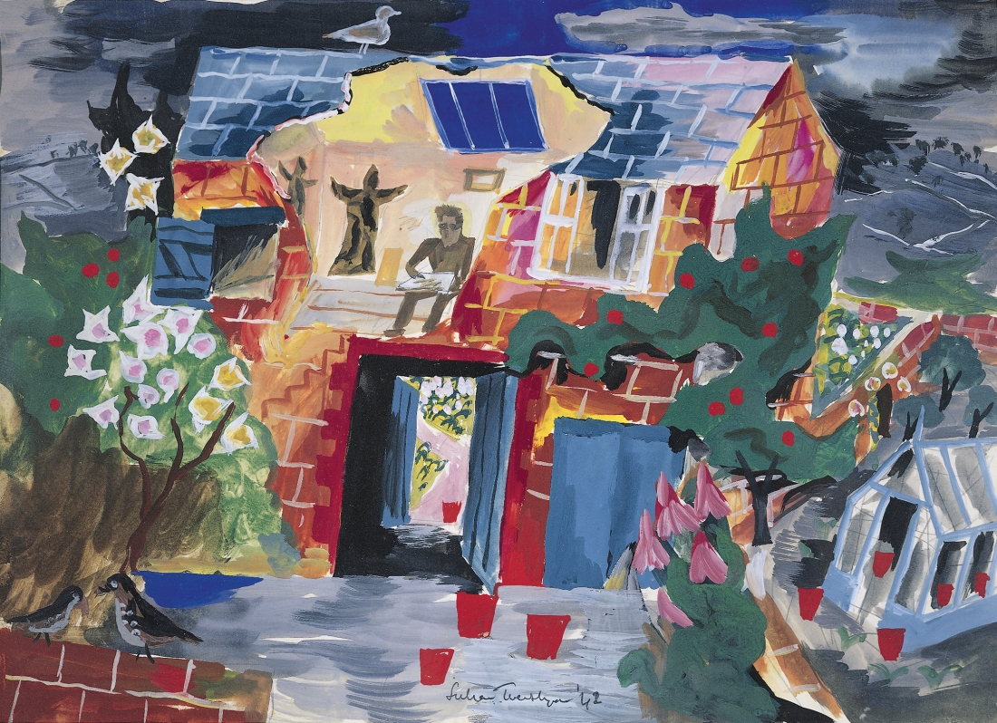 Julian Trevelyan, My Quantock Studio, 1942, gouache on paper, 21 x 33cm, Private Collection © The Julian Trevelyan Estate