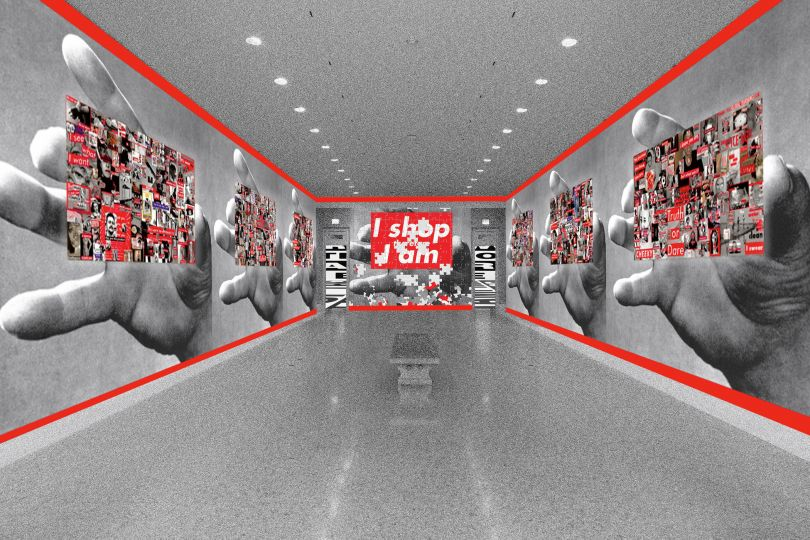 Barbara Kruger, Artist rendering of Untitled (That's the way we do it) (2011) at the Art Institute of Chicago, © Barbara Kruger, source photo courtesy of the Art Institute of Chicago