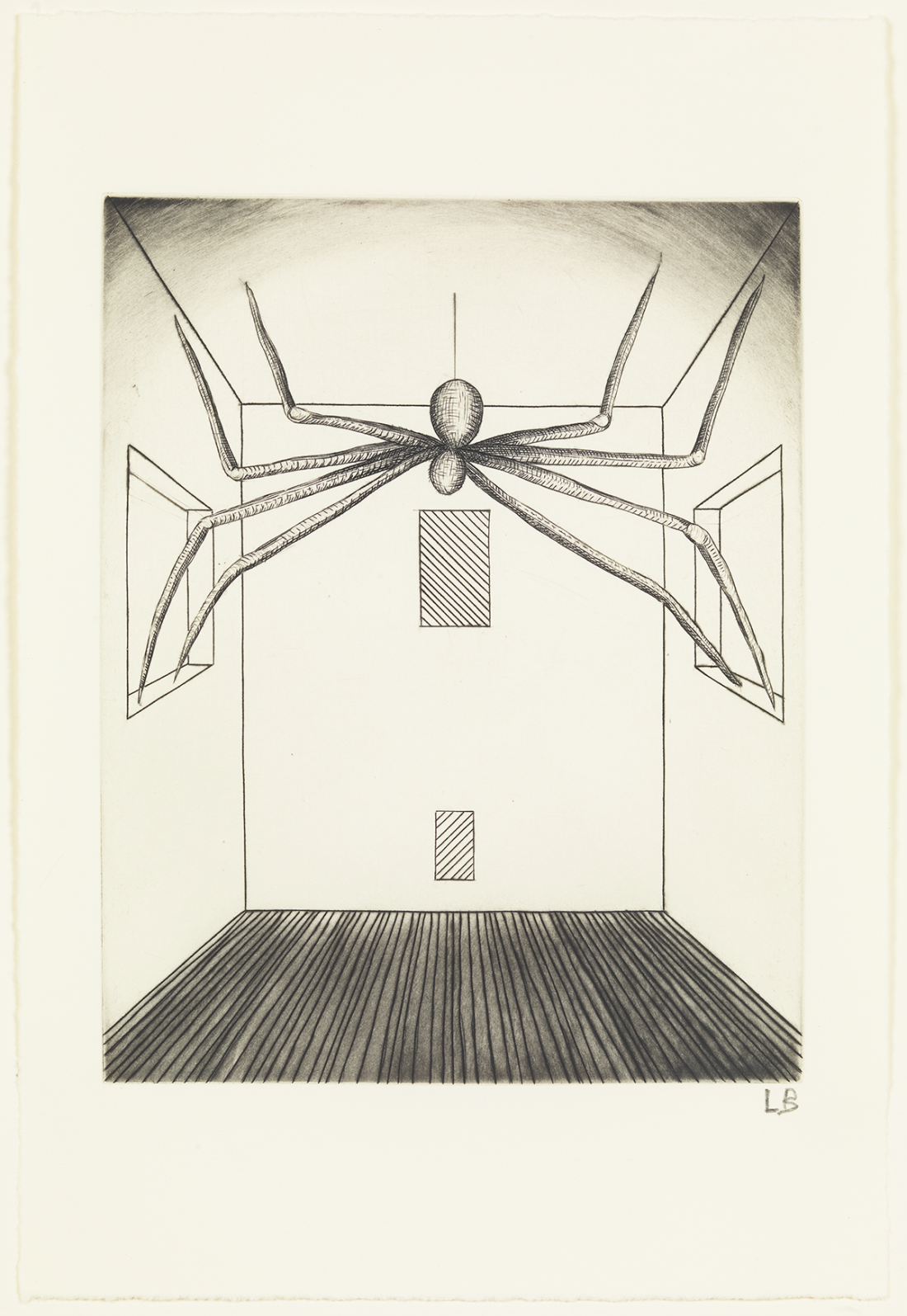 Louise Bourgeois He Disappeared Into Complete Silence, 1947 – 2005 (Detail) Suite of 11 engravings with aquatint and hand colouring accompanied by letterpress text, Plates 1 – 9: 25.4 × 35.6 cm, Alternative and Spider plates: 25.4 × 17.1 cm. © Easton Foundation/DACS, London/VAGA, NY 2018. Collection: The Easton Foundation.