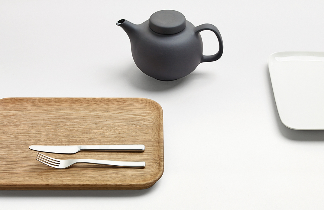 Olio serving platters, cutlery and teapot, Royal Doulton, 2015. Picture credit: David Brook