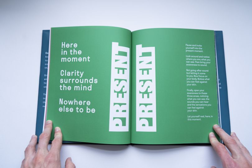 Design for a book exploring mental health and mindfulness. The exercise to the right is written by professional Mindfulness teacher, Vicki Worsley.