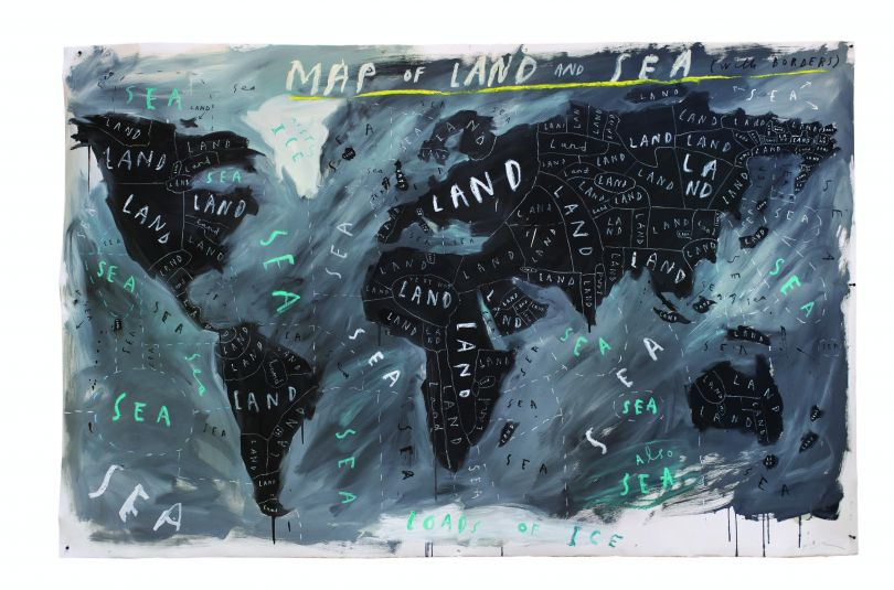 Map of Land and Sea with Borders, 2018, Oliver Jeffers, courtesy of Lazinc and artist