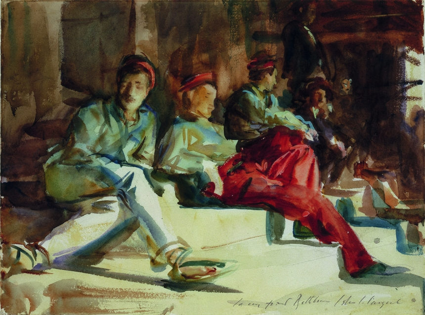 John Singer Sargent, Group of Spanish Convalescent Soldiers, c. 1903, watercolour on paper, over preliminary pencil, with body colour, 29.9 cm x 40.7 cm, Private Collection
