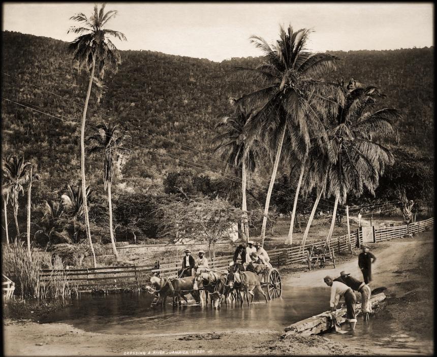 Crossing a River, Jamaica. James Valentine & Sons, 1891. Courtesy Caribbean Photo Archive / Autograph ABP