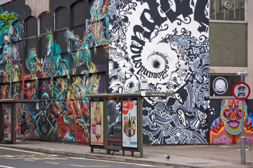 """Artworks on buildings in Bristol, most created for See No Evil. Image Credit: <a href=""""http://www.shutterstock.com/gallery-376252p1.html?cr=00&pl=edit-00"""">pjhpix</a> / <a href=""""http://www.shutterstock.com/?cr=00&pl=edit-00"""">Shutterstock.com</a>."""