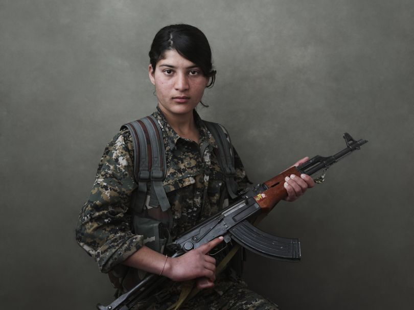 Portrait of Evrim Şengal, a volunteer fighter of the YJÊ. Shengal Mountain, Nineveh Governorate, Iraq, March 12, 2015. From [We Came From Fire](https://amzn.to/2L9l8Vm) by Joey L. – published by powerHouse Books