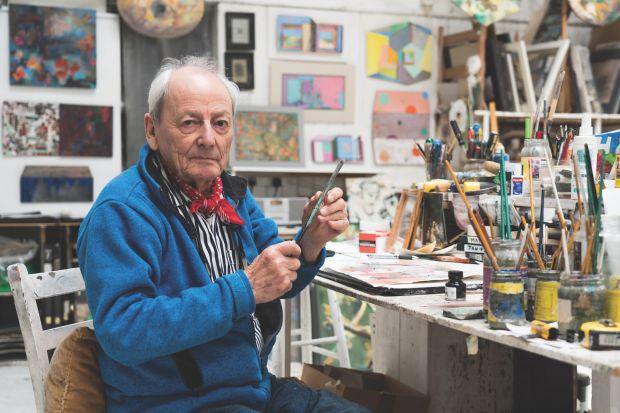 Anthony Whishaw RA in his studio