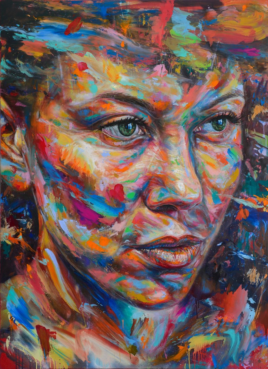 'The Sun Stares Back' acrylic and spray paint on canvas 160cm x 240cm