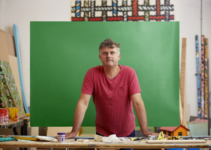 Artist Richard Woods. Favourite colour - Green. Photography by Toby Coulson
