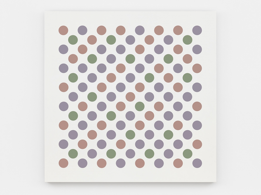 Bridget Riley Measure for Measure 14 2017 Acrylic on canvas 55 1/4 x 55 1/4 inches 140.5 x 140.5 cm © Bridget Riley 2017, all rights reserved. Courtesy David Zwirner, New York/London