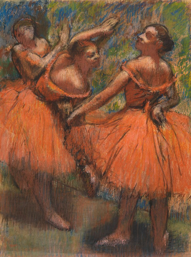 Hilaire-Germain-Edgar Degas The Red Ballet Skirts about 1900 Pastel on tracing paper 76.8 × 57.8 cm The Burrell Collection, Glasgow (35.243) © CSG CIC Glasgow Museums Collection