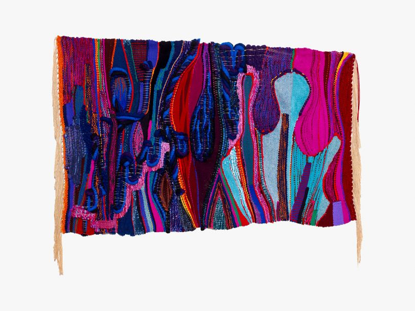 Terri Friedman, Laughter is Carbonated Holiness, 2020. Cotton, chenille, wool, acrylic fibers; 41 x 54 in (104.1 x 137.2 cm). Courtesty the artist and South Etna Montauk.