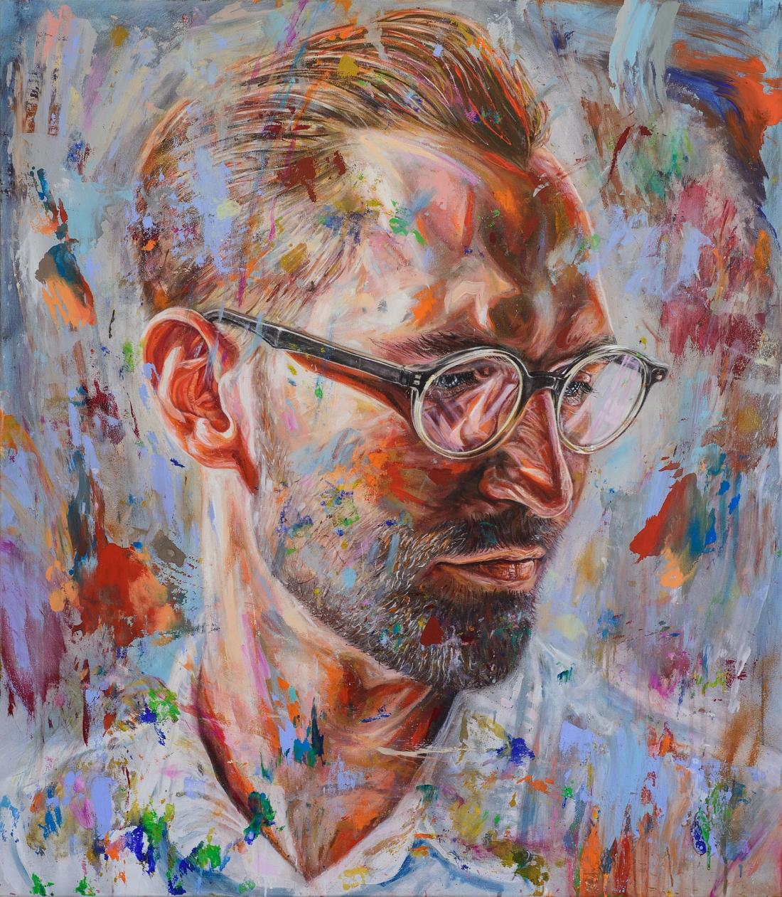 'Bartenders Choice' acrylic and spray paint on canvas 140cm x 160cm