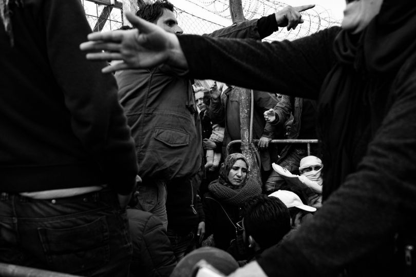 Fleeing Death. Refugees in the queue for the checkpoint at Idomeni, Greece. March 6, 2016. © Szymon Barylski. Photojournalism Single Image Winner, Magnum and LensCulture Photography Awards 2017
