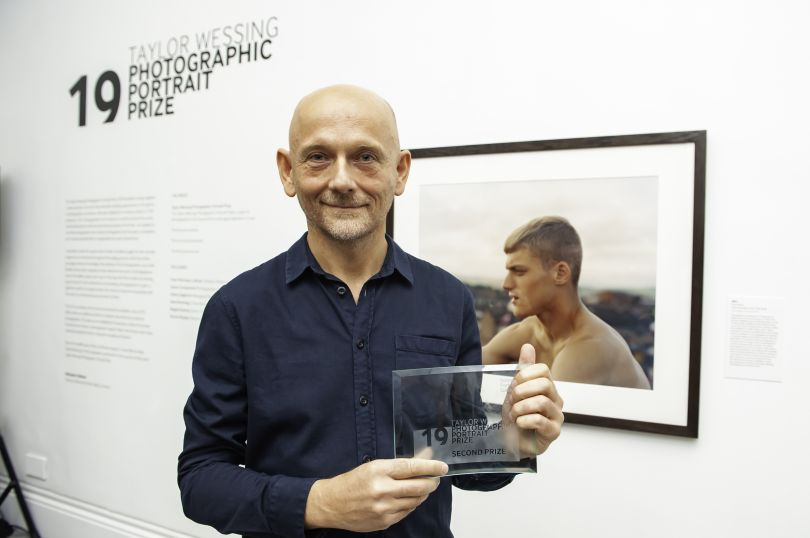 Second prize winner Enda Bowe with his portrait. Photograph by Jorge Herrera