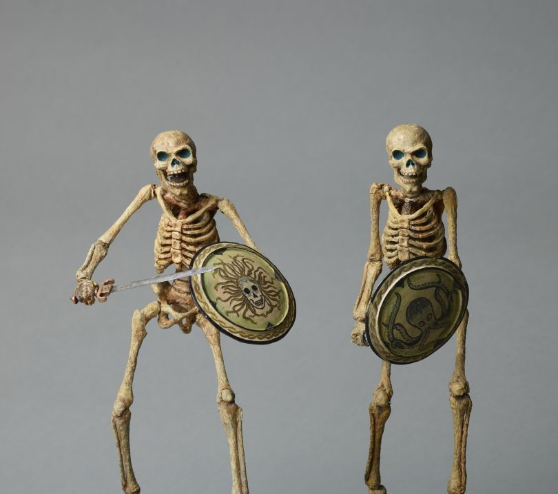 Original Skeleton model. armatured skeleton, with Medusa shield, from Jason and the Argonauts, c.1962 and Original Skeleton model; octopus shield by Ray Harryhausen (1920-2013), armature by Fred Harryhausen, c.1962 Collection: The Ray and Diana Harryhausen Foundation (Charity No. SC001419) © The Ray and Diana Harryhausen Foundation Photography: Sam Drake (National Galleries of Scotland)