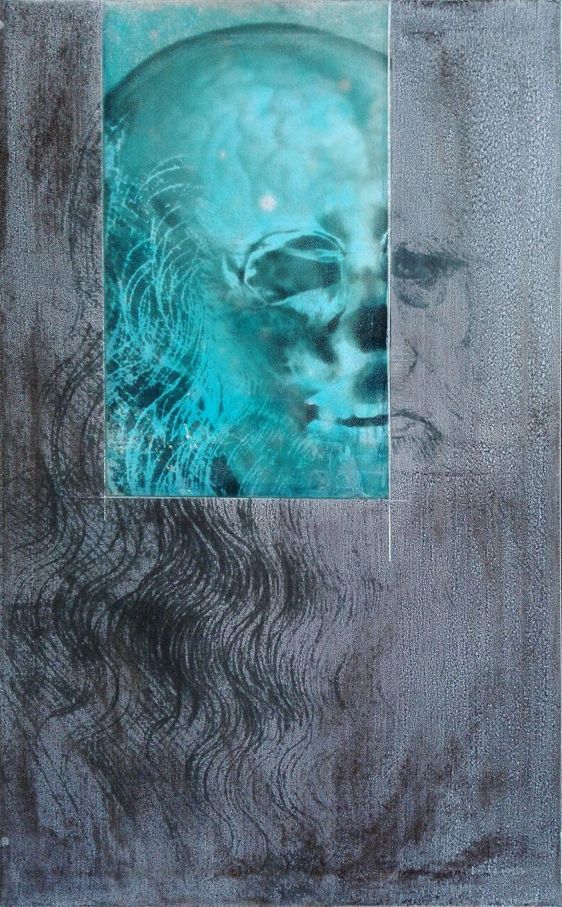 Grandi Maestri: Leonardo, Autoritratto, 2010 Alcohol and resin on pigmented canvas. 100 x 62 cm (39.4 x 24.4 in)