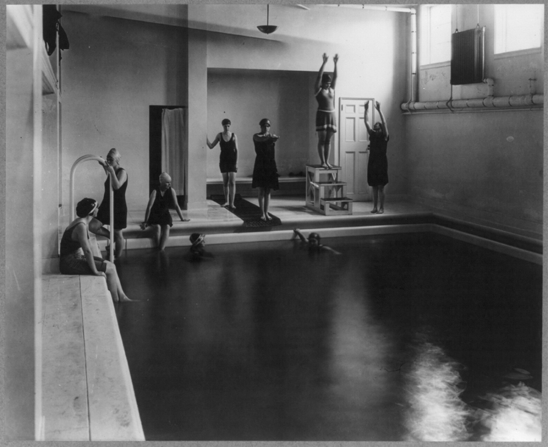 © Library of congress Washington, D.C. Mount Vernon Seminary - girls in swimming pool Contributor Names Johnston, Frances Benjamin, 1864-1952, photographer Created / Published [between 1890 and 1950]