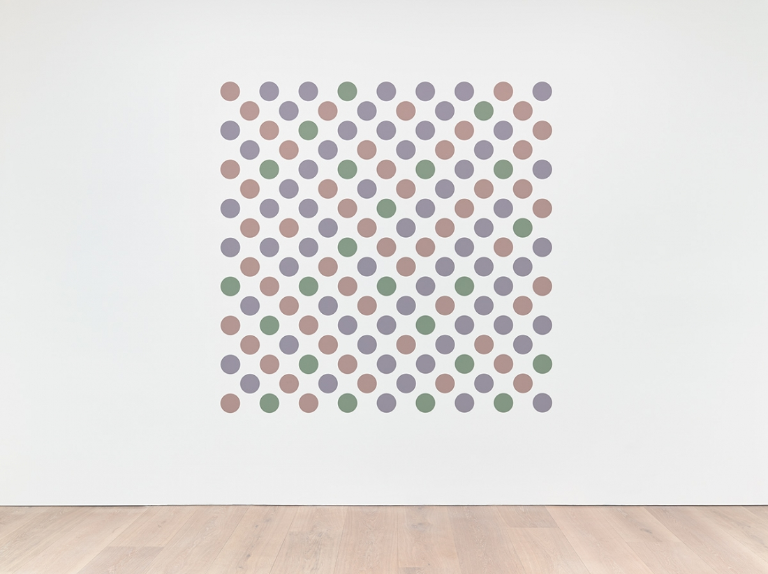 Bridget Riley Measure for Measure 7 2016 Graphite and acrylic on plaster wall 93 3/4 x 93 3/4 inches 238 x 238 cm © Bridget Riley 2017, all rights reserved. Courtesy David Zwirner, New York/London