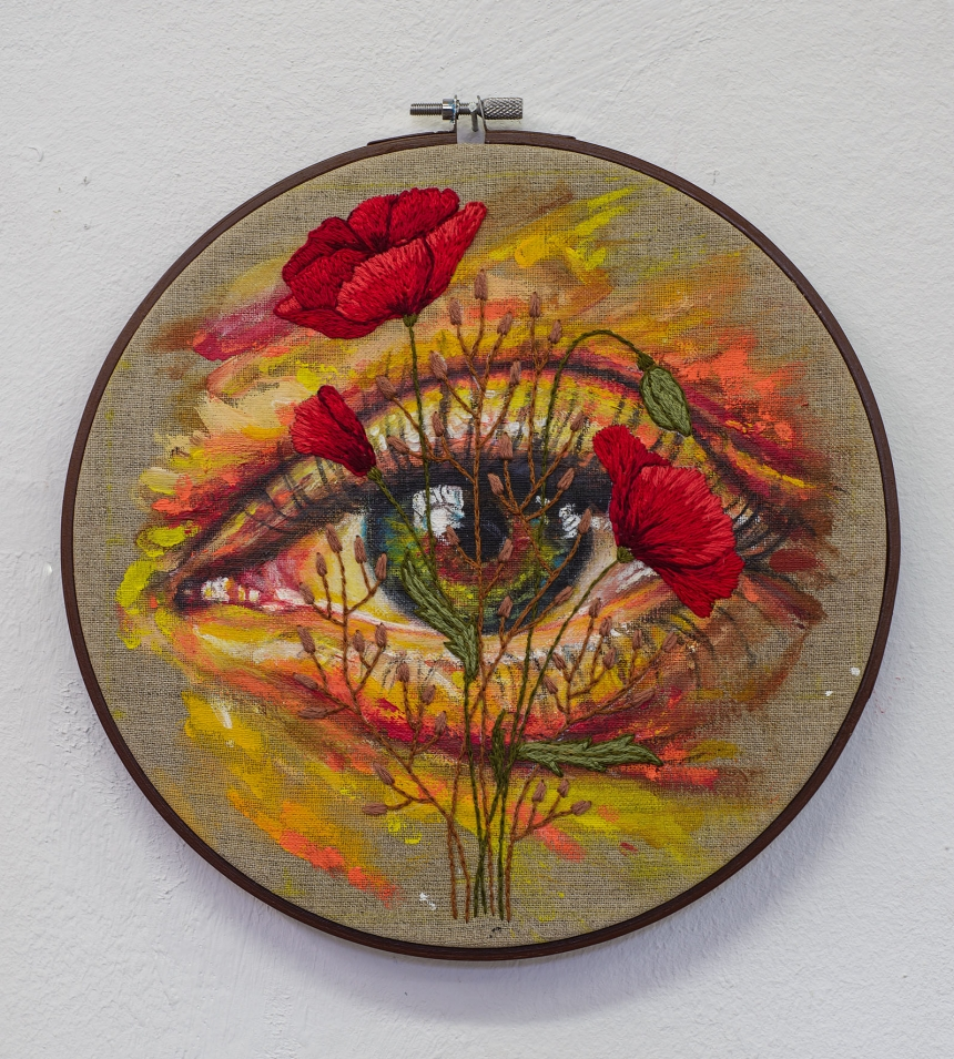 David Walker x Yuli Gates 'Form & Flora – Eye' acrylic and embroidery on linen D23cm