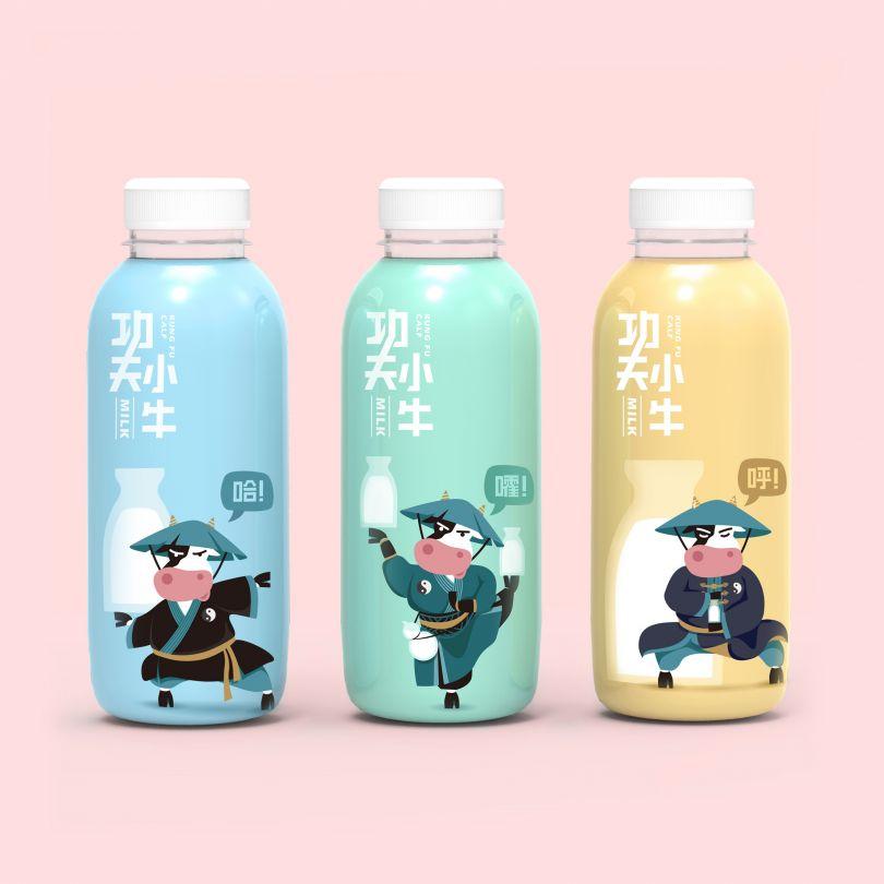 Kungfu Cow Milk Package Design by Xu Shihan is Winner in Packaging Design Category, 2018 - 2019