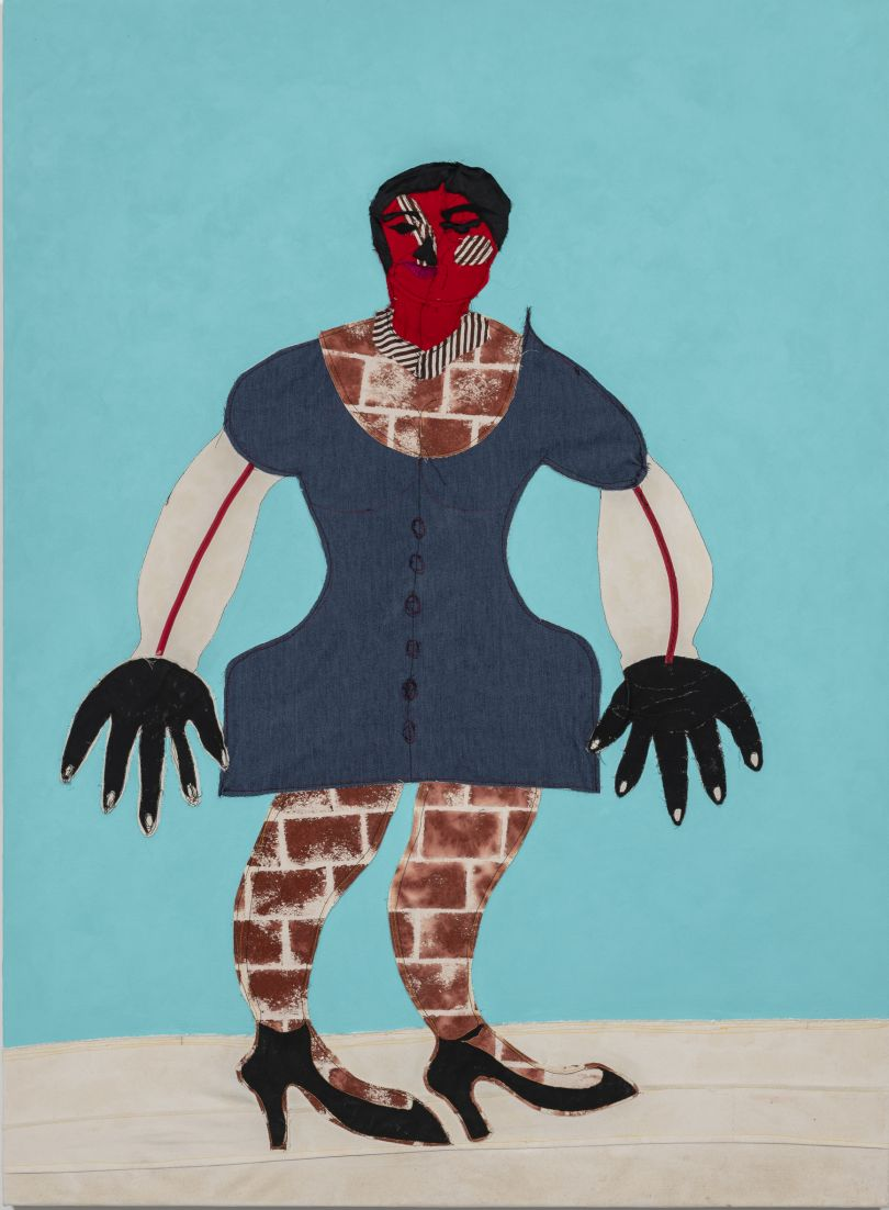 Tschabalala Self Lenox 2017 Fabric, ribbon, painted canvas, flashe and acrylic on canvas 172.7 x 127 cm Courtesy of the artist and Pilar Corrias Gallery