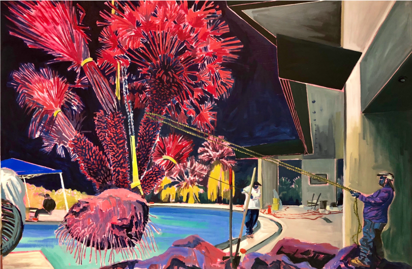 Palm and Pool (2018), Rex Southwick. Oil on canvas, 150x100cm