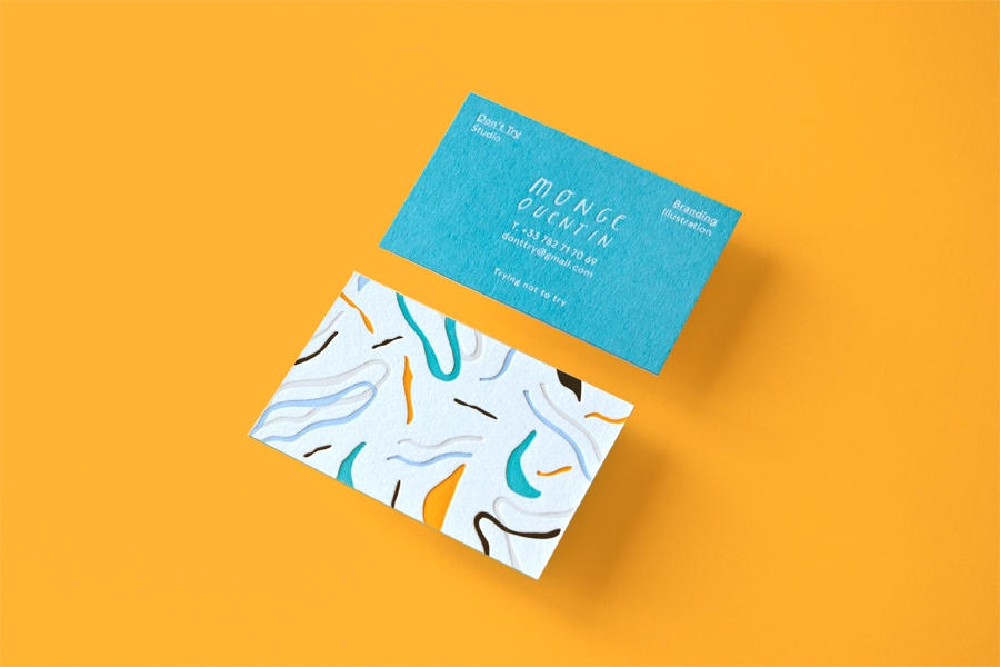 For His Own Business Card Design Parisian Creative Quentin Monge Of Don T Try Studio An Ilrator And Art Director Whose Muted Colours Soft Swirled