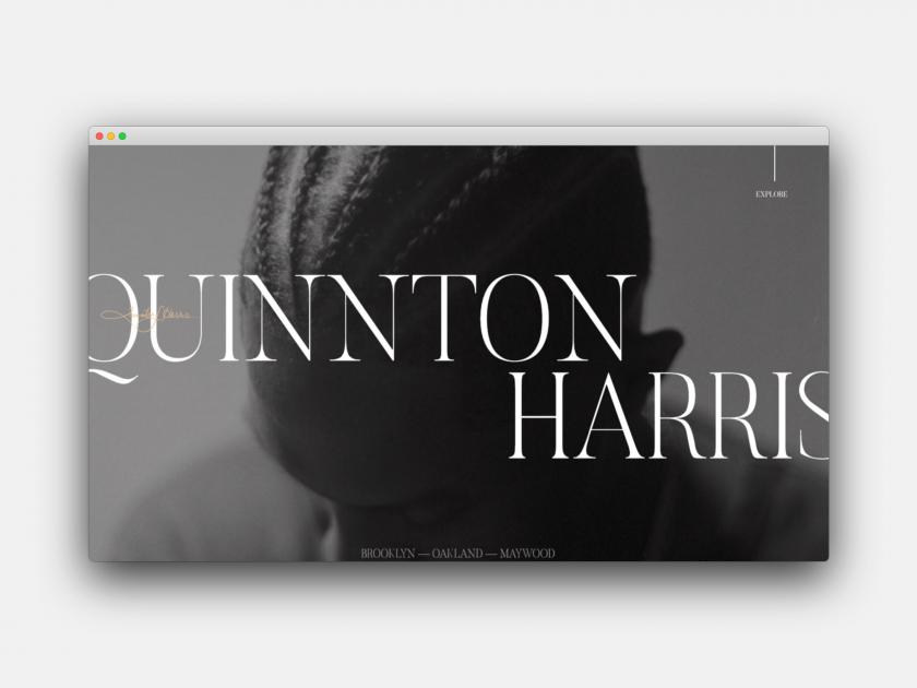 Quinnton Harris's portfolio website, made with Editor X