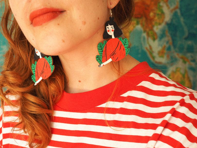 Plant Lady wooden earrings by [Mia Minerva](https://www.miaminerva.fi/shop/plant-lady-earrings). Priced at €30