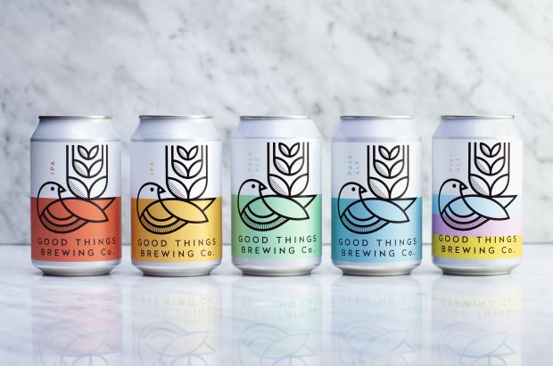 Design studio Horse's identity and packaging for Good Things Brewing