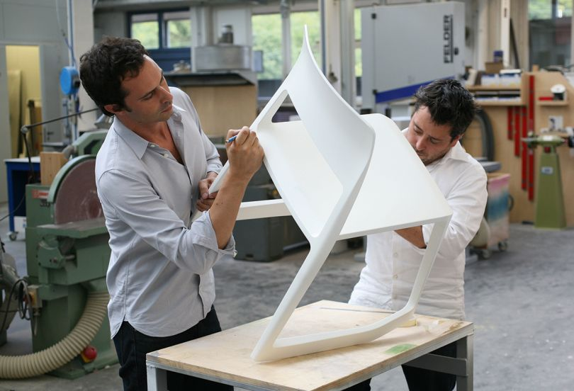 Edward Barber and Jay Osgerby, Vitra workshops, Basel, Switzerland, 2010. Picture credit: courtesy and copyright © Barber and Osgerby studio