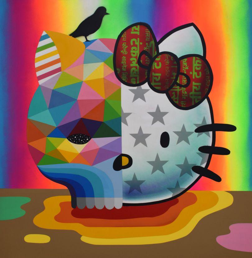 Okuda San Miguel 'Hello Kitty Skull' (synthetic enamel on wood, 39.4 x 39.4 inches)