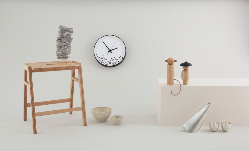 Stool by King & Webbon, Sculpture by Bronwen Grieves, Bowls by Alice Funge, Philosophy Clock by Sophie Melissa, Totem Collection by Anna Manfield, Veer Pouring Vessel & Two Cups by Alex O'Connor. Photography by Yeshen Venema