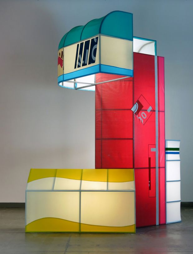 Shane Darwent, Future Bryte (2016), Custom Fabricated Storefront Awnings and Flourescent Lighting, 370x300x430cm. All images courtesy of Thames & Hudson, Beers London and the respected artists.