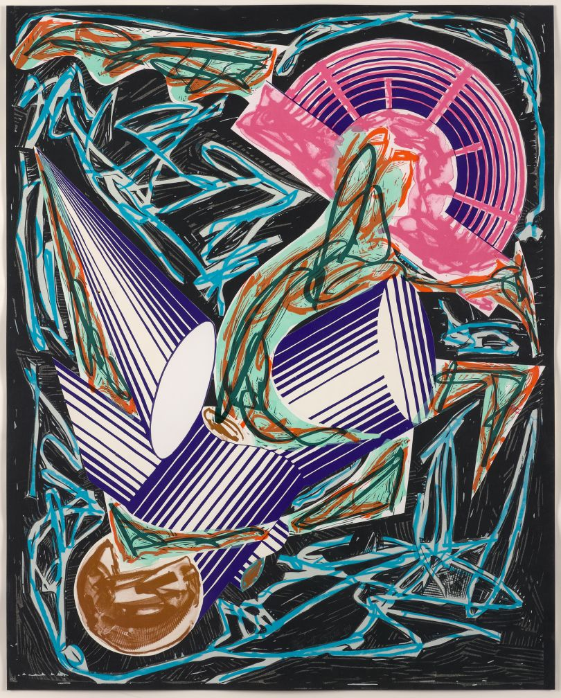 Frank Stella, American, born 1936. Had Gadya: Front Cover, 1984. Hand- coloring and collage with lithograph, linocut, and screenprint on T.H. Saunders paper (background) and shaped, hand-cut Somerset paper (collage), 108 × 86 cm. Collection of Preston H. Haskell, Class of 1960 / © 2017 Frank Stella / Artists Rights Society (ARS), New York