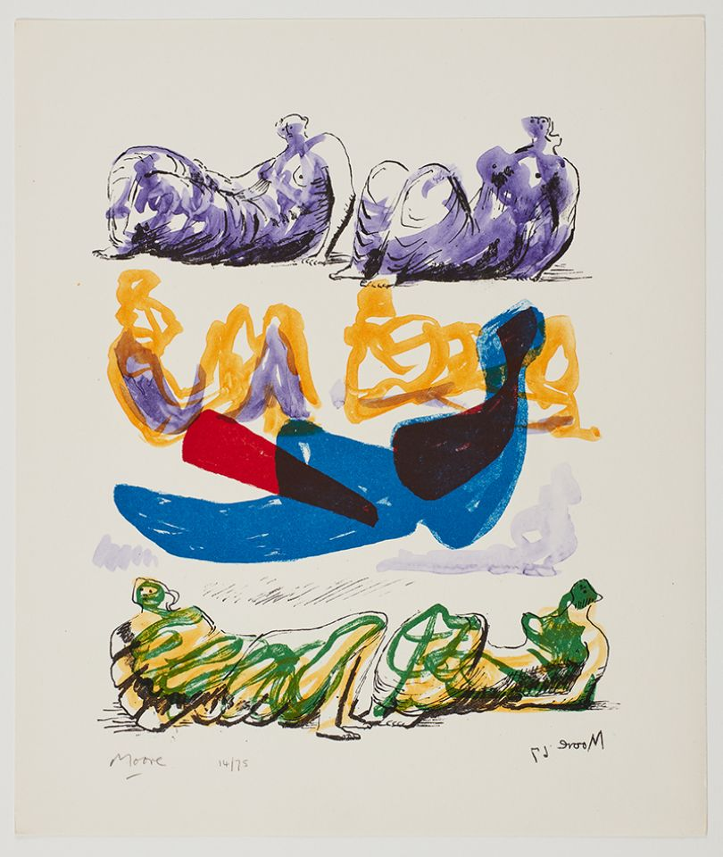 Henry Moore Reclining Figures with Blue Central Composition, 1967 lithograph Courtesy Marlborough Fine Art