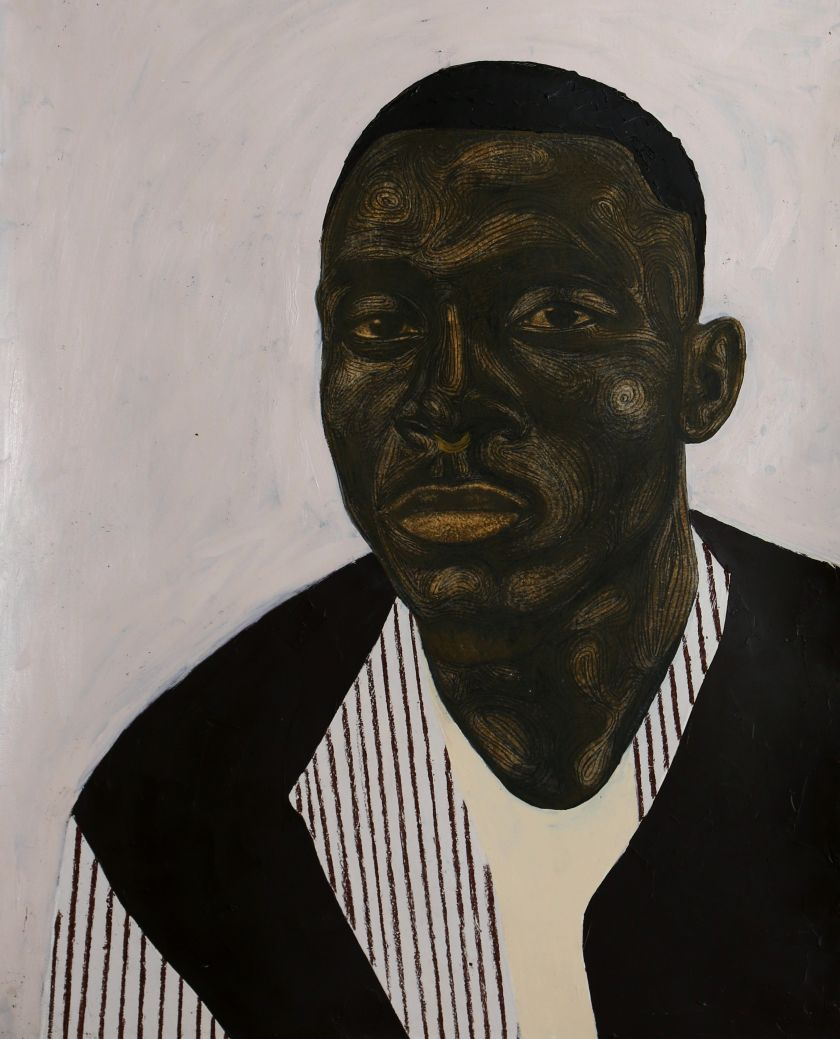 Stripe Jacket (2020), acrylic, oil and charcoal on paper, 100cm x 80cm. Courtesy of the artist Collins Obijiaku and ADA  contemporary art gallery