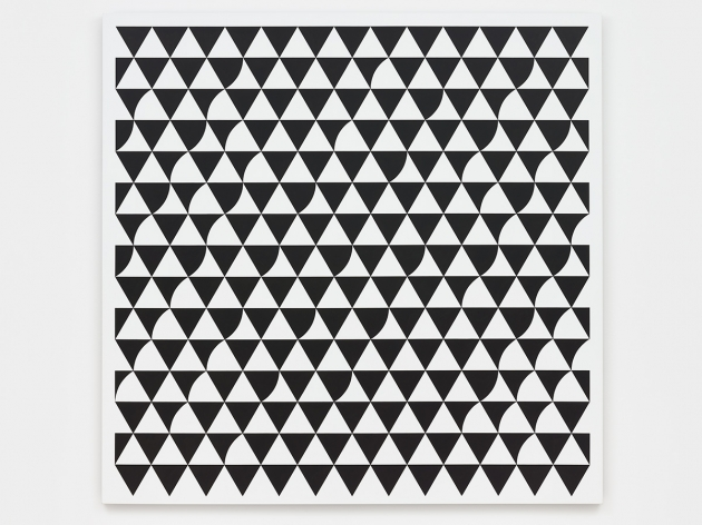Bridget Riley Rustle 6 2015 Acrylic on polyester 73 5/8 x 74 7/8 inches 187 x 190.2 cm Bridget Riley © Bridget Riley 2017, all rights reserved. Courtesy David Zwirner, New York/London