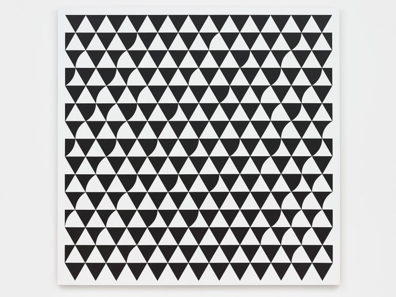 Bridget Riley Rustle 6 2015 Acrylic on polyester 73 5/8 x 74 7/8 inches 187 x 190.2 cm Bridget Riley © Bridget Riley 2017, all rights reserved. Courtesy David Zwirner, New York/London