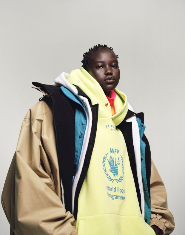 Model Adut Akech wears Balenciaga in i-D's The Earthwise Issue, Fall 2018. Photograph: Campbell Addy. Styling: Alastair McKimm